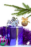 Box with Christmas gift and decorations Stock Photos