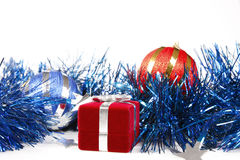 Box with Christmas gift and decorations Royalty Free Stock Photos
