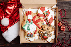 Box with Christmas homemade gingerbread cookies Stock Image