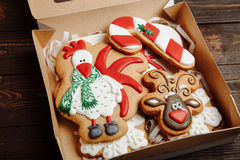 Box with Christmas homemade gingerbread cookies Royalty Free Stock Images