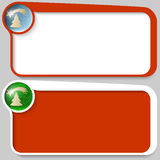 Box and Christmas motif. Two red vector text box and Christmas motif stock illustration