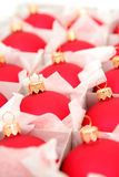 Box of Christmas Ornaments. Box of Red Christmas Ornaments royalty free stock photo