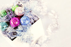 Box with Christmas ornaments Royalty Free Stock Image