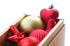 Box of Christmas ornaments Royalty Free Stock Photos