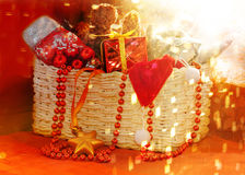 Box with Christmas toys and gifts Royalty Free Stock Photography