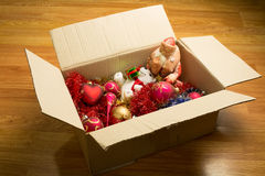 Box with Christmas toys Stock Photography