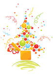 Box with Christmas tree. Illustration with fun gifts from which bubbles emerge and are transformed into a Christmas tree Royalty Free Stock Images