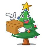 With box Christmas tree character cartoon. Vector illustration Stock Photo