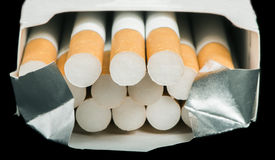 Box of cigarettes close up Royalty Free Stock Photos