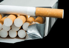 Box of cigarettes close up Stock Photo