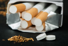 Box of cigarettes close up Stock Photography