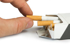 Box of cigarettes close up Royalty Free Stock Images