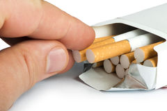 Box of cigarettes close up Stock Images