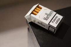 Box of cigarettes stock images