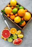 Box with citrus fresh fruits. On a concrete background stock photos