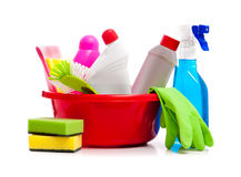 Box of cleaning supplies Royalty Free Stock Images