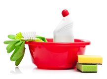 Box of cleaning supplies Royalty Free Stock Image