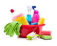 Box of cleaning supplies Stock Photos
