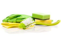 Box of cleaning supplies stock image