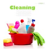 Box of cleaning supplies Royalty Free Stock Photos
