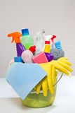 box of cleaning supplies and gloves isolated on white Royalty Free Stock Image