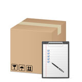 Box and clipboard Royalty Free Stock Images