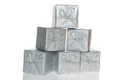 box clipping gift path silver Στοκ Φωτογραφίες
