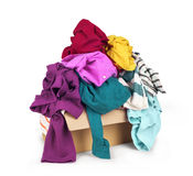 Box with clothes. On white background Royalty Free Stock Images