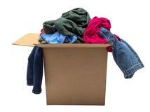 Box Of Clothing Isolated On White. Nice close up shot of a box of clothing isolated on white Royalty Free Stock Photography