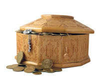 Box with coins Royalty Free Stock Photos