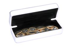 Box with coins Stock Photo