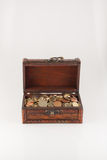 Box with coins. The photo shows the box with coins on white background Royalty Free Stock Photos