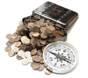 Box with coins Royalty Free Stock Images