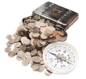 Box with coins Royalty Free Stock Photo