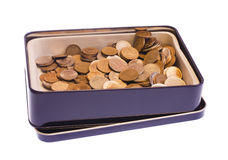 Box with coins Stock Photography