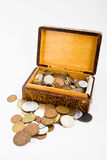 Box of coins. An antique box filled with assorted international coins royalty free stock photo