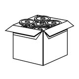 Box with coins icon Stock Images