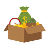 Box with coins icon Stock Image