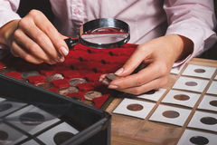 Box with collectible coins in the cells and a hand with coin through the magnifying glass. Soft focus background Royalty Free Stock Image