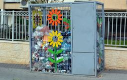 Box for collecting plastic bottles on the street of a small town in Israel for their subsequent recycling stock image