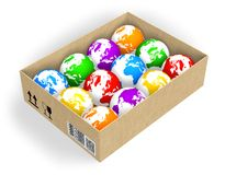 Box with color globes. Globalization/ecology concept: box with color globes Stock Photography