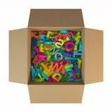 Box with colored letters Stock Photography