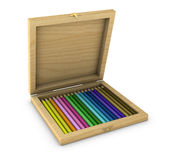 Box of colored pencils. One 3d render of a box with colored pencils stock illustration