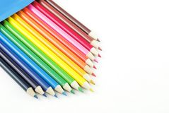 Box of Colored Pencils  copy space Royalty Free Stock Photos