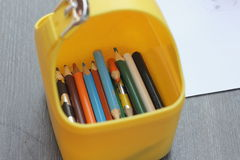 Box with colored pencils Royalty Free Stock Image