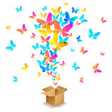 Box with colorful butterflies Stock Image