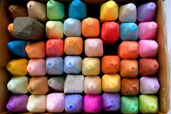 Box of Colorful Chalk For Creating Sidewalk Art Royalty Free Stock Photos