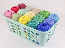 Box with colorful knitting yarn royalty free stock photo