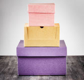 Colorful package box on a table Stock Photo