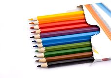 A box of colorful pencils Stock Photography
